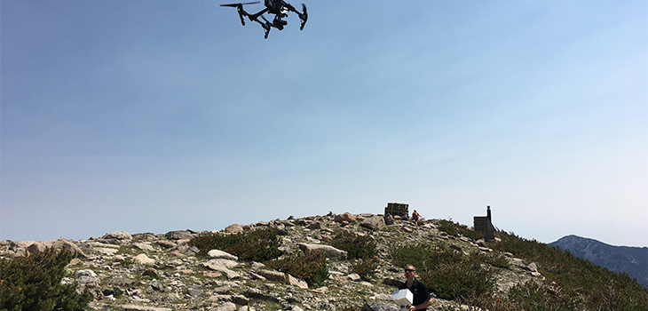 Drone flying over mountain