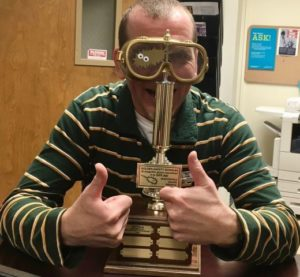 Dr. Mark Zabel with the Golden Safety Goggles Trophey