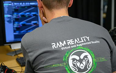 Student participating in Ram Reality, a virtual and augmented reality program